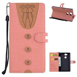 Ladies Bow Clothes Pattern Leather Wallet Phone Case for Sony Xperia XA2 - Pink