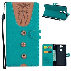 Ladies Bow Clothes Pattern Leather Wallet Phone Case for Sony Xperia XA2 - Green