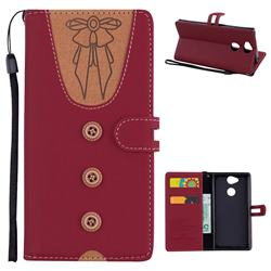 Ladies Bow Clothes Pattern Leather Wallet Phone Case for Sony Xperia XA2 - Red