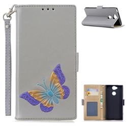 Imprint Embossing Butterfly Leather Wallet Case for Sony Xperia XA2 - Grey