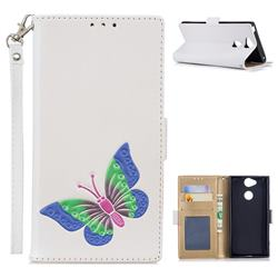 Imprint Embossing Butterfly Leather Wallet Case for Sony Xperia XA2 - White