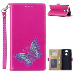 Imprint Embossing Butterfly Leather Wallet Case for Sony Xperia XA2 - Rose Red