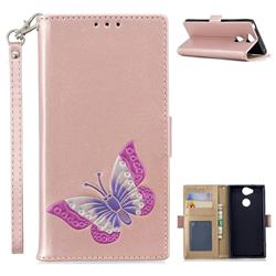 Imprint Embossing Butterfly Leather Wallet Case for Sony Xperia XA2 - Rose Gold