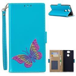 Imprint Embossing Butterfly Leather Wallet Case for Sony Xperia XA2 - Sky Blue