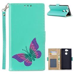 Imprint Embossing Butterfly Leather Wallet Case for Sony Xperia XA2 - Mint Green