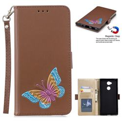 Imprint Embossing Butterfly Leather Wallet Case for Sony Xperia XA2 - Brown
