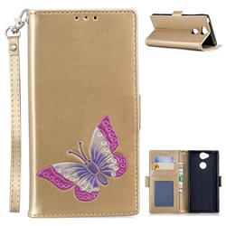 Imprint Embossing Butterfly Leather Wallet Case for Sony Xperia XA2 - Golden