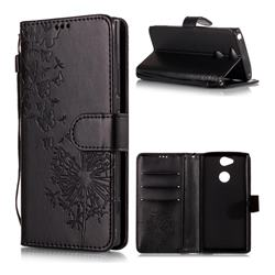 Intricate Embossing Dandelion Butterfly Leather Wallet Case for Sony Xperia XA2 - Black