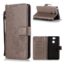 Intricate Embossing Dandelion Butterfly Leather Wallet Case for Sony Xperia XA2 - Gray