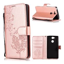 Intricate Embossing Dandelion Butterfly Leather Wallet Case for Sony Xperia XA2 - Rose Gold