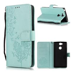 Intricate Embossing Dandelion Butterfly Leather Wallet Case for Sony Xperia XA2 - Green