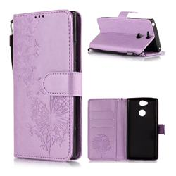 Intricate Embossing Dandelion Butterfly Leather Wallet Case for Sony Xperia XA2 - Purple