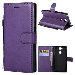 Retro Greek Classic Smooth PU Leather Wallet Phone Case for Sony Xperia XA2 - Purple