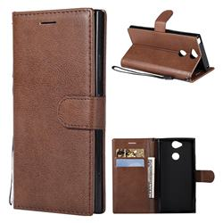 Retro Greek Classic Smooth PU Leather Wallet Phone Case for Sony Xperia XA2 - Brown