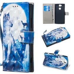 Ice Wolf 3D Painted Leather Wallet Phone Case for Sony Xperia XA2