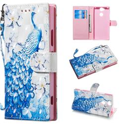 Blue Peacock 3D Painted Leather Wallet Phone Case for Sony Xperia XA2