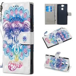 Colorful Elephant 3D Painted Leather Wallet Phone Case for Sony Xperia XA2