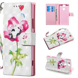 Flower Panda 3D Painted Leather Wallet Phone Case for Sony Xperia XA2