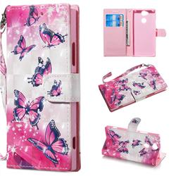 Pink Butterfly 3D Painted Leather Wallet Phone Case for Sony Xperia XA2