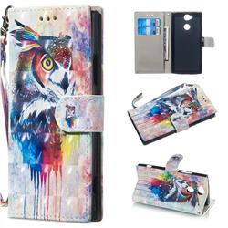 Watercolor Owl 3D Painted Leather Wallet Phone Case for Sony Xperia XA2