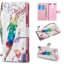 Music Pen 3D Painted Leather Wallet Phone Case for Sony Xperia XA2