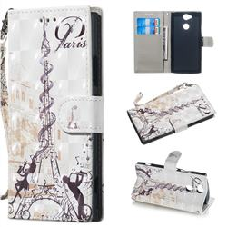 Tower Couple 3D Painted Leather Wallet Phone Case for Sony Xperia XA2