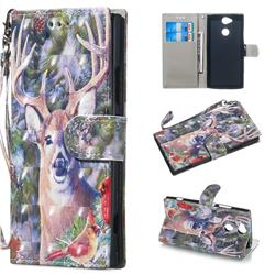 Elk Deer 3D Painted Leather Wallet Phone Case for Sony Xperia XA2