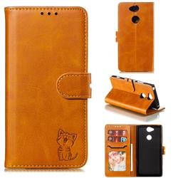 Embossing Happy Cat Leather Wallet Case for Sony Xperia XA2 - Yellow