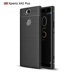 Luxury Auto Focus Litchi Texture Silicone TPU Back Cover for Sony Xperia XA2 Plus - Black