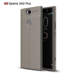 Luxury Auto Focus Litchi Texture Silicone TPU Back Cover for Sony Xperia XA2 Plus - Gray