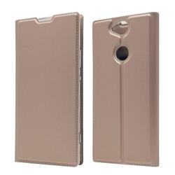 Ultra Slim Card Magnetic Automatic Suction Leather Wallet Case for Sony Xperia XA2 Plus - Rose Gold
