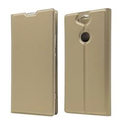 Ultra Slim Card Magnetic Automatic Suction Leather Wallet Case for Sony Xperia XA2 Plus - Champagne