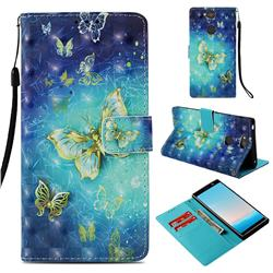 Gold Butterfly 3D Painted Leather Wallet Case for Sony Xperia XA2 Plus