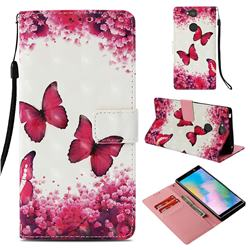 Rose Butterfly 3D Painted Leather Wallet Case for Sony Xperia XA2 Plus