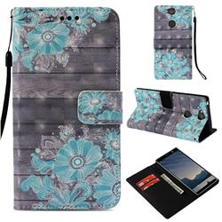 Blue Flower 3D Painted Leather Wallet Case for Sony Xperia XA2 Plus