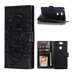 Intricate Embossing Datura Solar Leather Wallet Case for Sony Xperia XA2 Plus - Black