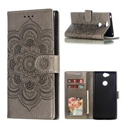 Intricate Embossing Datura Solar Leather Wallet Case for Sony Xperia XA2 Plus - Gray
