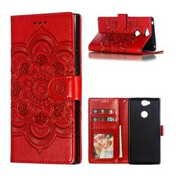 Intricate Embossing Datura Solar Leather Wallet Case for Sony Xperia XA2 Plus - Red