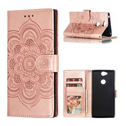 Intricate Embossing Datura Solar Leather Wallet Case for Sony Xperia XA2 Plus - Rose Gold