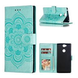 Intricate Embossing Datura Solar Leather Wallet Case for Sony Xperia XA2 Plus - Green