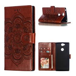 Intricate Embossing Datura Solar Leather Wallet Case for Sony Xperia XA2 Plus - Brown