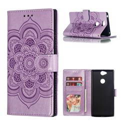 Intricate Embossing Datura Solar Leather Wallet Case for Sony Xperia XA2 Plus - Purple