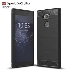 Luxury Carbon Fiber Brushed Wire Drawing Silicone TPU Back Cover for Sony Xperia XA2 Ultra(6.0 inch) - Black