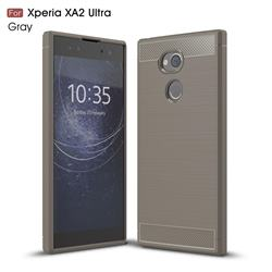 Luxury Carbon Fiber Brushed Wire Drawing Silicone TPU Back Cover for Sony Xperia XA2 Ultra(6.0 inch) - Gray