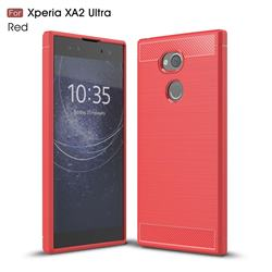 Luxury Carbon Fiber Brushed Wire Drawing Silicone TPU Back Cover for Sony Xperia XA2 Ultra(6.0 inch) - Red