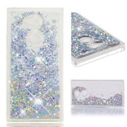Dynamic Liquid Glitter Quicksand Sequins TPU Phone Case for Sony Xperia XA2 Ultra(6.0 inch) - Silver
