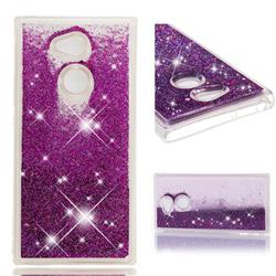 Dynamic Liquid Glitter Quicksand Sequins TPU Phone Case for Sony Xperia XA2 Ultra(6.0 inch) - Purple