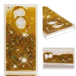 Dynamic Liquid Glitter Quicksand Sequins TPU Phone Case for Sony Xperia XA2 Ultra(6.0 inch) - Golden