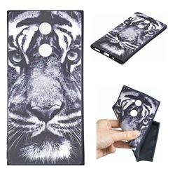 White Tiger 3D Embossed Relief Black TPU Cell Phone Back Cover for Sony Xperia XA2 Ultra(6.0 inch)