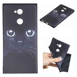 Bearded Feline 3D Embossed Relief Black TPU Cell Phone Back Cover for Sony Xperia XA2 Ultra(6.0 inch)